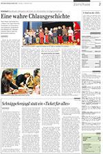 Bericht der Zürichsee Zeitung vom 12. November 2005 über die Buch- und CD-Taufe des ersten Abenteuers von Samichlaus & Schmutzli «Benjamin der Esel».