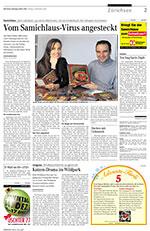 Vom Samichlaus Virus angesteckt. Die Zürichsee Zeitung porträtiert in ihrer Ausgabe vom 5. Dezember 2008 den Erlenbacher Kinderbuchautor Sämi Weber und die TV-Moderatorin Sandra Studer, die seine Geschichten erzählt.