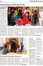 Seite aus dem Zürcher Oberländer von Montag, 17. November 2014. Titel des Artikels «Samichlaus stellt Buch vor».
