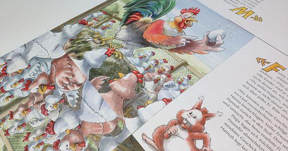 Das Buch «Hannah das Huhn» von Sämi Weber wird und er Druckerei Uhl in Radolfzell produziert.